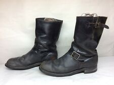 #9 VTG MENS HY TEST   ENGINEER/MOTORCYCLE STEEL TOE LEATHER BLACK BOOTS SIZE ?