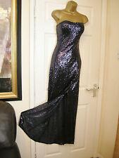 10 CLUB L NAVY SEQUIN MAXI DRESS BANDEAU STRAPLESS WEDDING 20'S 30S VINTAGE
