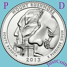 2013 P&D MOUNT RUSHMORE NATIONAL MEMORIAL QUARTERS UNCIRCULATED FROM MINT ROLLS
