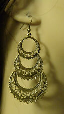 BOHEMIAN EARRINGS ANTIQUE GOLD TONE FILIGREE Chandelier earrings LIGHT 4 INCH L