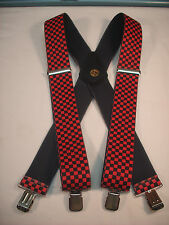 "New, Men's, Red / Black Checkerboard, 2 "", XL, Adj. Suspenders / Braces, USA"