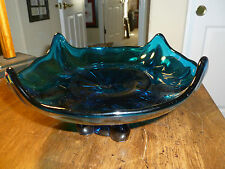 Vintage Mid Century Modern Art Glass - Blue Glass Bowl with Pulled Edges