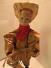 "Paper mache Cowboy Hat Rope Mexico? 13"" colorful great detail Vintage"
