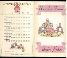 UN ARTE FRANCES SABER BEBER 1949 VINI FRANCIA MENU' RARO OPUSCOLO IN SPAGNOLO