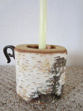 VINTAGE HAND MADE WHITE BIRCH TREE BARK CANDLE HOLDER