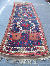 ANTIQUE KURDISH RUG HAND KNOTTED RUNNER 387x111-cm/ 152.3x43.7-inches