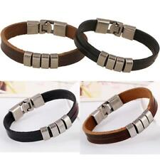 Mens Womens Black/BROWN Pu Leather Bracelet Antiqua silver plated 7inch