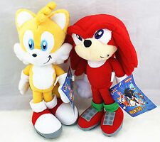 2PCS Sonic The Hedgehog Tails Red & Yellow Plush Toy Figure Doll 8 inch