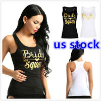 US _ Womens Sleeveless Bride Squad Racer Back Gym Casual Tank T-Shirt Vest Top