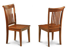 Set of 2 Portland dinette kitchen & dining chairs w/ wood seat in cherry brown