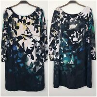 MAEVE Anthropologie Women's S Black Shaded Garden Floral Shift Dress Pockets