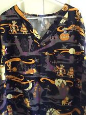 Disney Winnie Pooh Scrub Top Tigger Halloween Nursing Medical Uniform  3XL