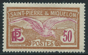 ST. PIERRE & MIQUELON #99(1) 1925 50 centimes yel brn & magenta FULMAR PETREL MH