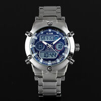 Mens Quartz Watch Digital Dial Analog Sport Date Stainless Steel Luminous Luxury