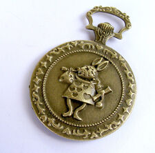 Bronze Alice in Wonderland Pendant Jewelry Vintage Pocket Watch Necklace Antique