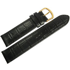 19mm Mens Fluco Kroco Black Crocodile-Grain Leather GOLD Buckle Watch Band Strap
