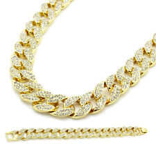 Hip Hop 14k Gold Fully Iced Out CZ Chain & Bracelet Mens Miami Cuban Necklace