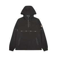 Ellesse Mens Overhead Soft Shell Jacket Hooded 1/4 Zip Logo Medium Black