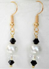 White 8mm glass pearl clear and black glass bead 4cm gold tone drops