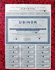RARE OBLIGATION USINOR 6% dix mille francs juin 1955 SPECIMEN  avant tirage