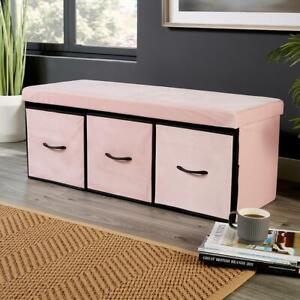 Pink Velvet Fabric Folding Ottoman 3 Drawer Storage Chest Solid Space Saving Box