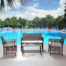 New 4PCS Patio Rattan Wicker Furniture Set Cushioned Chair Glass Table Garden