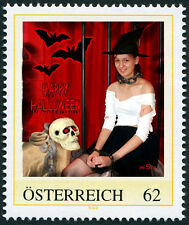 U) Personalized stamp halloween witch bat skull chains girl AUSTRIA 2014