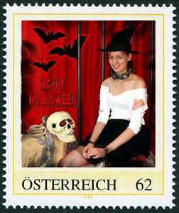 U) Personalized stamp halloween witch bat skull chains girl AUSTRIA 2014