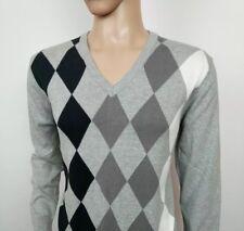 Ben Sherman Mens Jumper Argyle Grey Black White V Neck Sweater Size M RRP£90