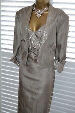 ~ ROMAN ~ Golden Shimmer Dress & Jacket Size 22 Suit Mother of the Bride