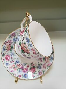 CROWN Staffordshire Tea Cup and Saucer Chintz Floral Rose teacup England