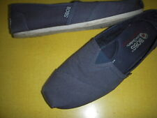 Bobs by Skechers Plush Peace & Love Canvas Slip-On Shoes Womens 8 M Navy Blue