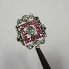 1922 - Art Deco Ring aus Weißgold 750 Altschliff Diamanten Rubine - 2545/1467