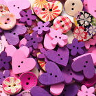 50/100pcs Wood Love Heart Handmade 2 Holes Wooden Buttons Sewing Scrapbooking
