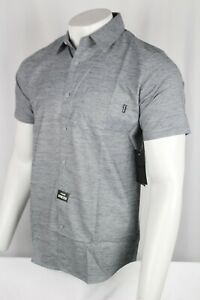 Hurley Men's Dri Fit Marwick Stretch Short-Sleeve Shirt Medium Dark Smoke Gray