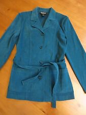 BRIGGS NEW YORK Teal POLYESTER BLEND long sleeve BUTTON DOWN JACKET belt Small