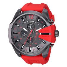 Brand New Diesel Men's DZ4427 Diesel Mega Chief Gunmetal IP Red Silicone Watch