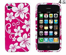 Hot Pink Hawaiian Flowers Flexible TPU Gel Case Cover for Apple iPhone 4, 4S NEW