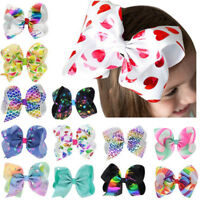 8inch Rainbow Cartoon Bow Hairpins Ribbon Alligator Clip Bowknot Girl Kids Gifts