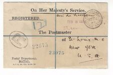 1893 Durban Natal OHMS Official Registered Envelope, Christmas Day to New York