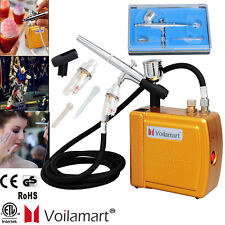 Voilamart 0.3mm Airbrush Compressor Kit Dual Action Set Make Up Gift 7cc Ink Cup