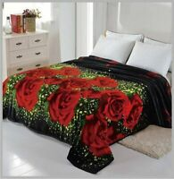 3D Roses Blanket throw Mink silky soft King Size Plush Black new