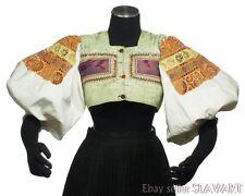 Vintage Slovak Folk Costume embroidered blouse & vest Detva ethnic peasant kroj