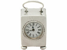 Antique Victorian Sterling Silver Boudoir Clock by Henry Matthews - 1898