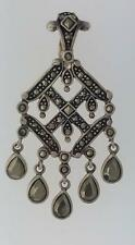 Vintage Sterling Silver .925 dangling Marcasite pendant from Thailand art deco