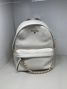 Michael Kors Slater Medium Pebbled Leather Chain Backpack Shoulder Bag White NWT