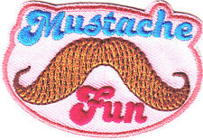 """MUSTACHE FUN"" PATCH - Iron On Embroidered Patch/Trim, Fasion, Fun"