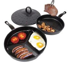 3 in 1 Divide Wonder Delicious Breakfast Non Stick Combo Frying Pan Set