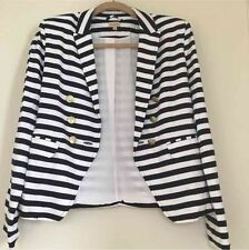 $129 Cremieux Small Nautical Striped Double Breasted Stretchy Knit Short Blazer