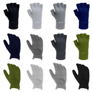 Mens Adults Soft Knitted Thermal Warm Winter Gloves Comfy Fingerless FullFinger
